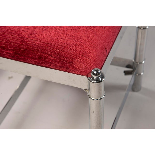 Red Italian Hollywood Regency Nickel Plated Faux Bamboo Stools - a Pair For Sale - Image 8 of 12