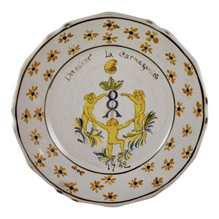 18th C. Nevers French Revolution Tin-Glazed Dish - La Carmagnolles