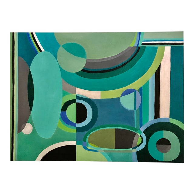 Large Rectangular Abstract Painting in Blues and Greens For Sale