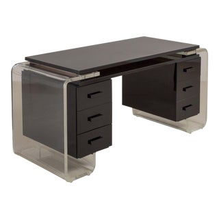 A Large Black and Clear Lucite Vanity Table or Desk, 1980s