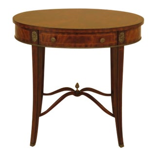 Maitland Smith Oval One Drawer Mahogany Occasional Table