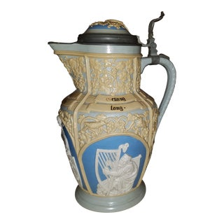 Mettlach Villeroy & Boch Large Lidded Decorative and Embossed Stein C. 1899 For Sale