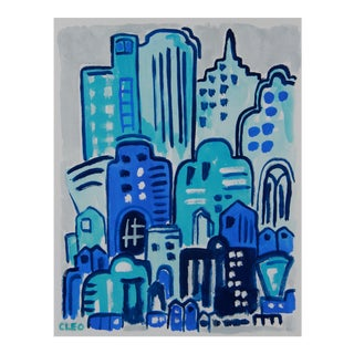 Art Deco Cityscape in Blue by Cleo