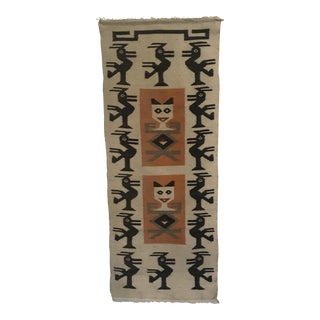 Native American Cats Birds Woven Wall Hanging