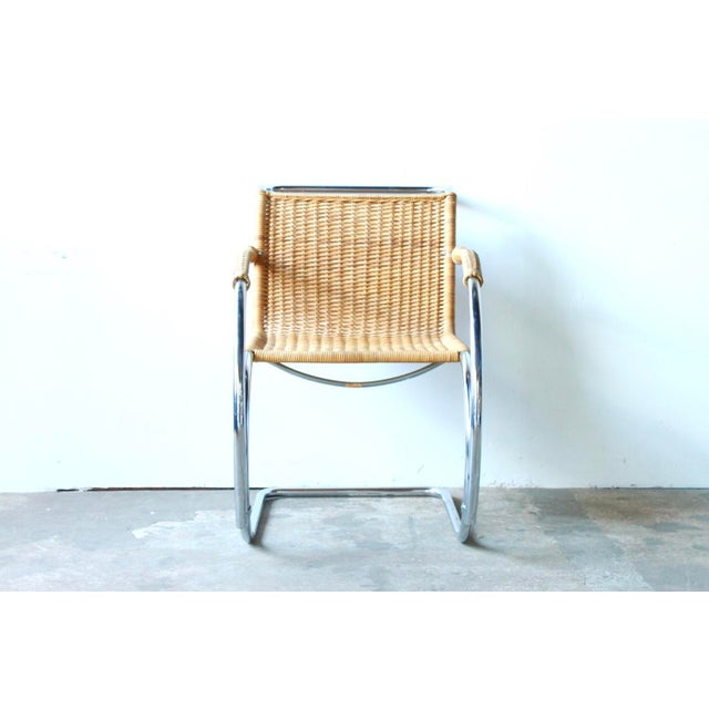 Designed by Mies Van Der Rohe, manufactured by Stendig circa 1960. Chrome, woven cane. Origin - Denmark