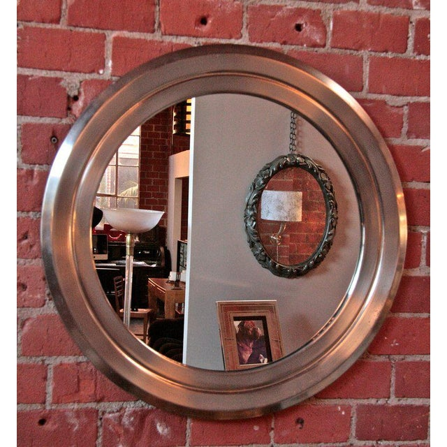 Italian Italian 70's Stainless Sergio Mazza Mirror For Sale - Image 3 of 5