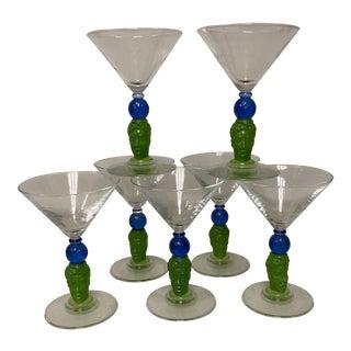 1990's Richard Jolly Bombay Martini Glasses Set of 7 For Sale