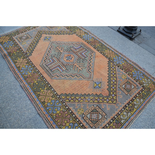 Turkish Oushak Antique Wool Rug - 3′6″ × 5′6″ For Sale - Image 6 of 11