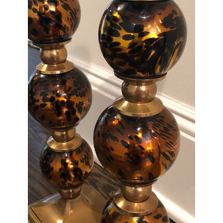 Amber Tortoise Glass and Brass Candleholders - a Pair Preview