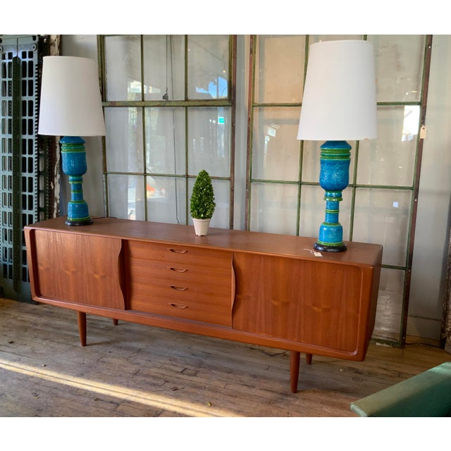 Mid-Century Modern Danish 1950s Teak Credenza Cabinet For Sale - Image 3 of 11