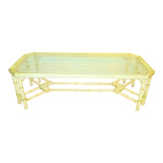 Chinoiserie 8 Leg Faux Bamboo Glass Top Coffee Table For Sale