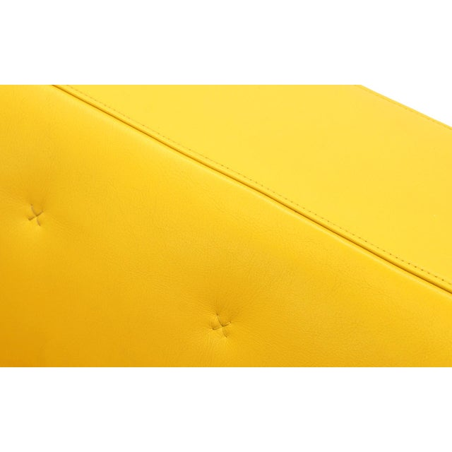 Poltrona Frau Yellow Leather Memory Swivel Lounge Chair - Image 6 of 11