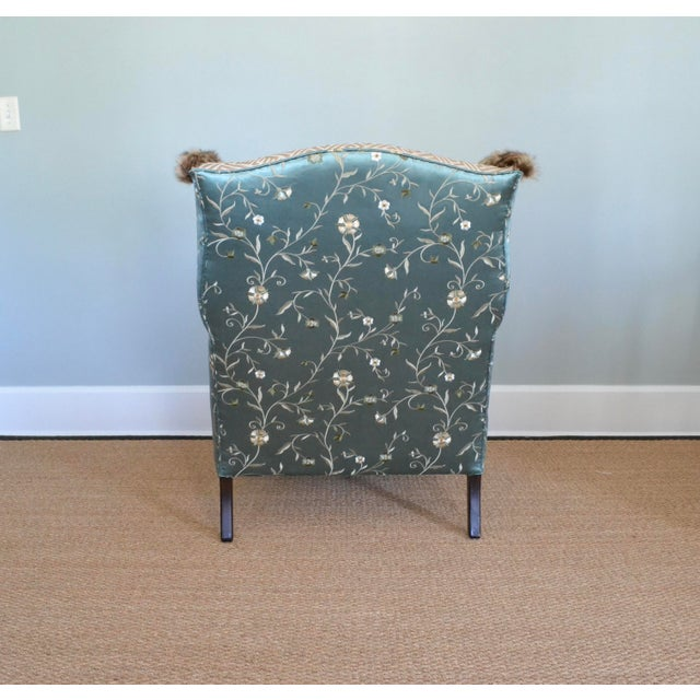2010s Silk & Fur Teal & Champagne Wingback Chair For Sale - Image 5 of 9