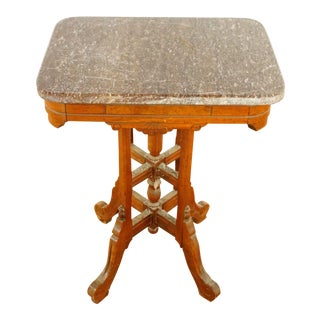 19th Century Eastlake Victorian Marble Top End Table For Sale