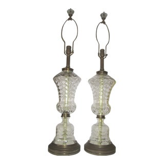 Baccarat Style Mid-Century Modern Cut Crystal Urn Shape Table Lamps - a Pair For Sale