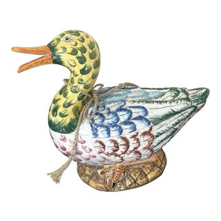 Vietri Italian Art Pottery Duck Tureen For Sale