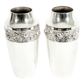 Antique English Silver Plated Hand Chased Vases - a Pair For Sale