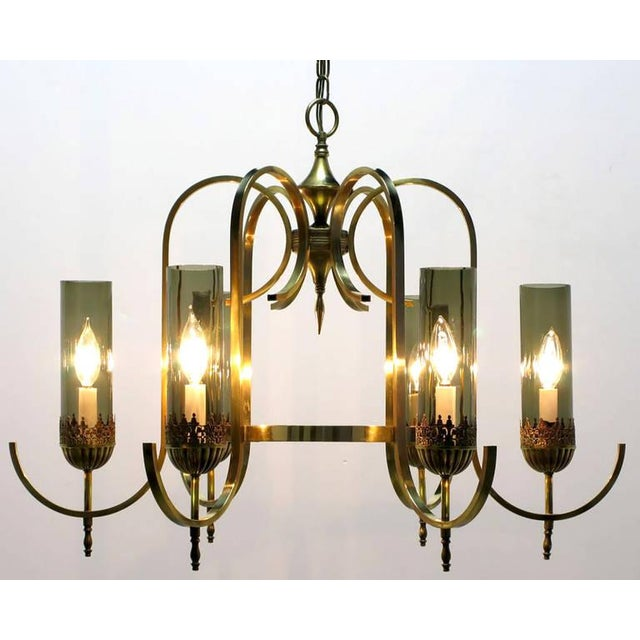Mid-Century Modern Brass Undulate Arm Six-Light Chandelier with Smoked Hurricane Shades For Sale - Image 3 of 8