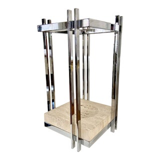 Vintage Italian Chrome & Travertine Cubist Umbrella Stand For Sale