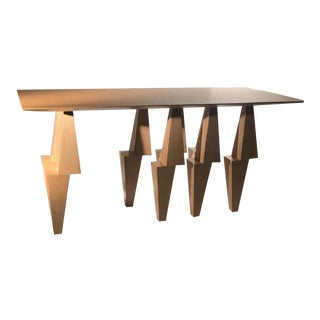 Modern Pyramid Wood and Stainless Steel Console Table For Sale