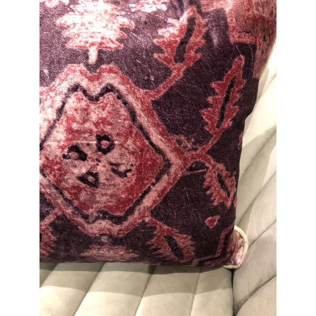 This wonderfully colored & printed velvet pillow resembles an antique rug pillow. It measures 18W x 18H and is a cotton...