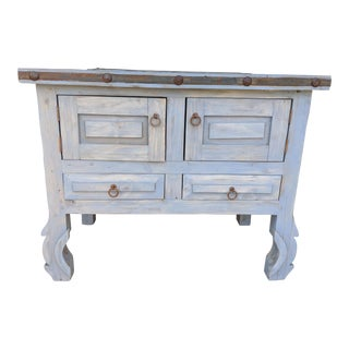 Rustic Bathroom Vanity/Cabinet With Mirror (Small), Hand Washed, Antiqued Grey/Blue For Sale