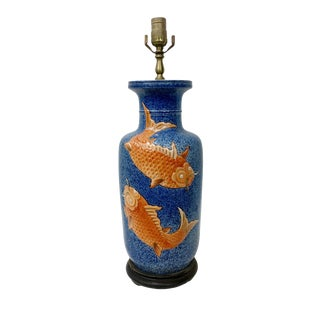 Ming Dynasty Vase Lamp With Prosperity Goldfish For Sale