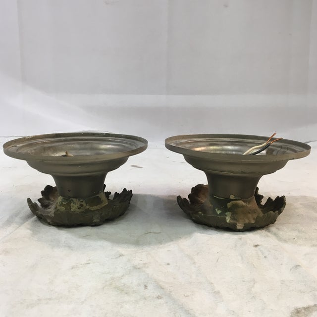 1920s 1920s Art Deco Neoclassical Single Bulb Flush Mounts - a Pair For Sale - Image 5 of 9