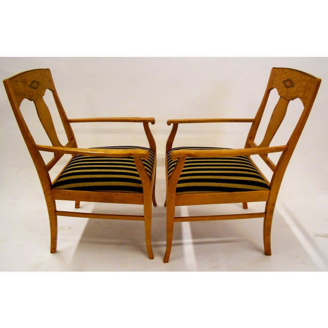 Swedish Jugendstil Birch Armchairs - A Pair - Image 4 of 8