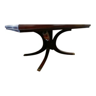 English Henredon Furniture Modern Rectangle Pedestal Dining Table in Rosewood For Sale