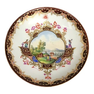 Small Vintage Meissen Porcelain Plate with Brown Details and a Landscape Scene For Sale