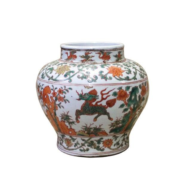 Chinese Handmade Multi-Color Flower Kirin Porcelain Pot Jar For Sale In San Francisco - Image 6 of 8