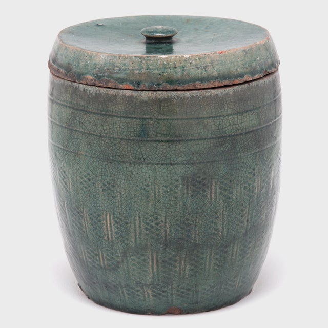 Asian Vintage Chinese Glazed Apothecary Jar For Sale - Image 3 of 9