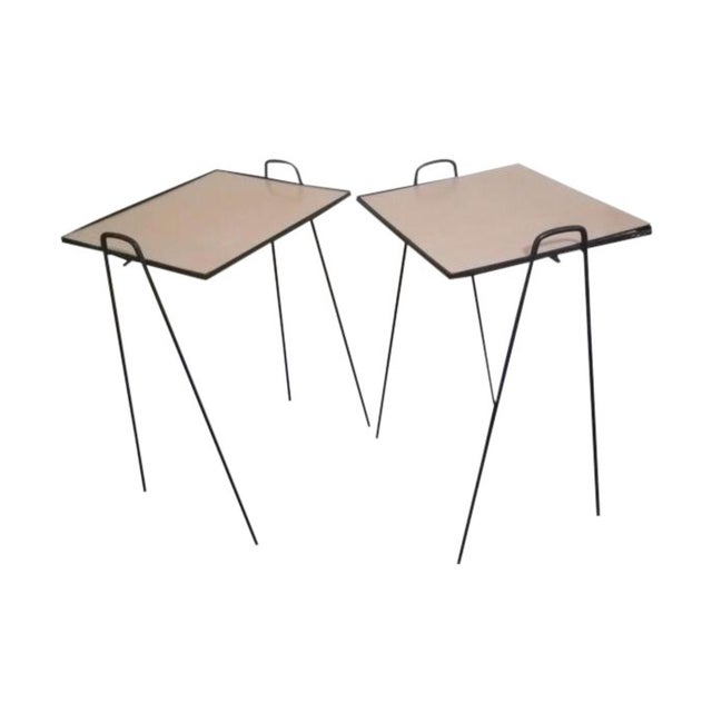 Mid 20th Century Mid-Century Modern Wrought Iron Side Tables - a Pair For Sale - Image 5 of 5