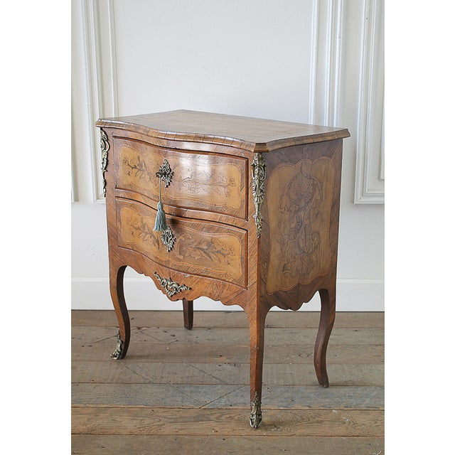 20th Century Louis XV Style Inlay Commode with Bronze Mounts For Sale - Image 4 of 13