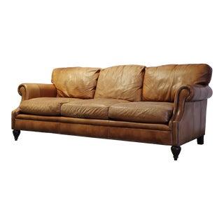 Vintage Restoration Hardware Leather Sofa For Sale