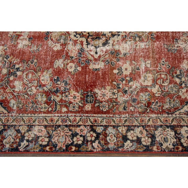 "Red Apadana-Antique Persian Distressed Rug, 6'6"" X 9'1"" For Sale - Image 8 of 10"