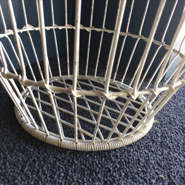 Vintage White Metal and Wire Basket - Image 7 of 7