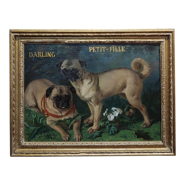 Charles Nogaro - Portrait of Two Pugs-19th Century French Oil Painting For Sale