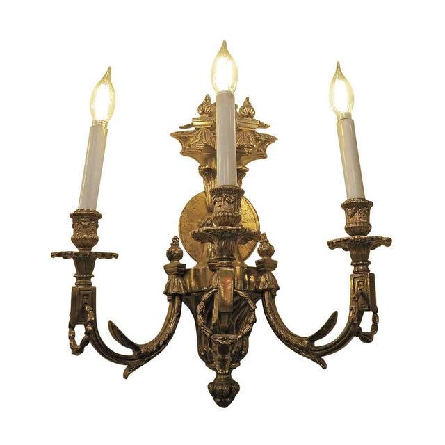 Vintage Waldorf Astoria Heavy Bronze Sconce For Sale - Image 10 of 10