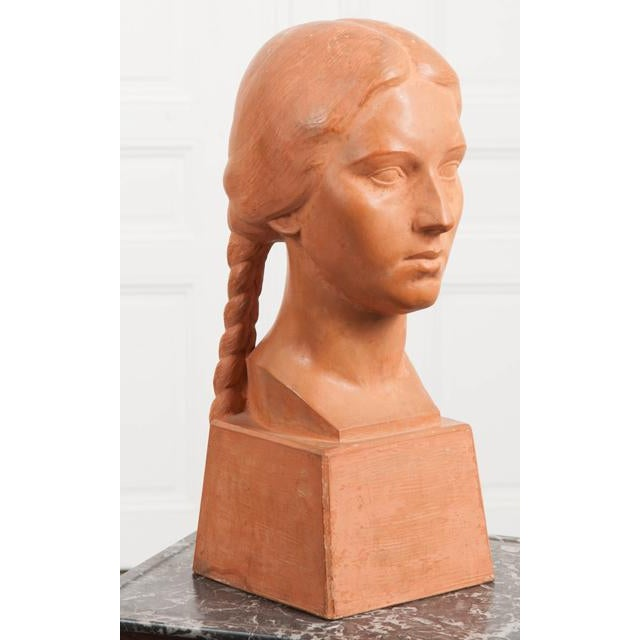 French Early 20th Century Terra Cotta Bust by Raymond Couvègnes For Sale - Image 4 of 9