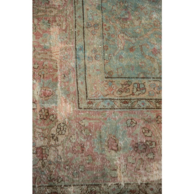 "Textile Vintage Distressed Tabriz Square Carpet - 11'10"" X 13'11"" For Sale - Image 7 of 13"