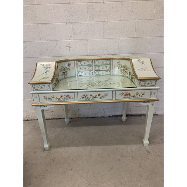 Jasper Cabinet Company Hand Painted Chinoiserie Desk Vanity & Chair For Sale - Image 4 of 13