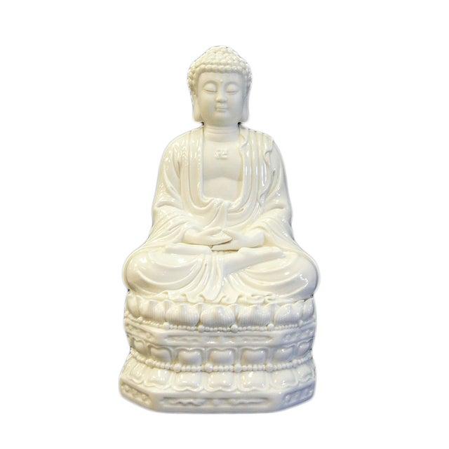 Chinese White Porcelain Buddha on Base Statue - Image 1 of 7