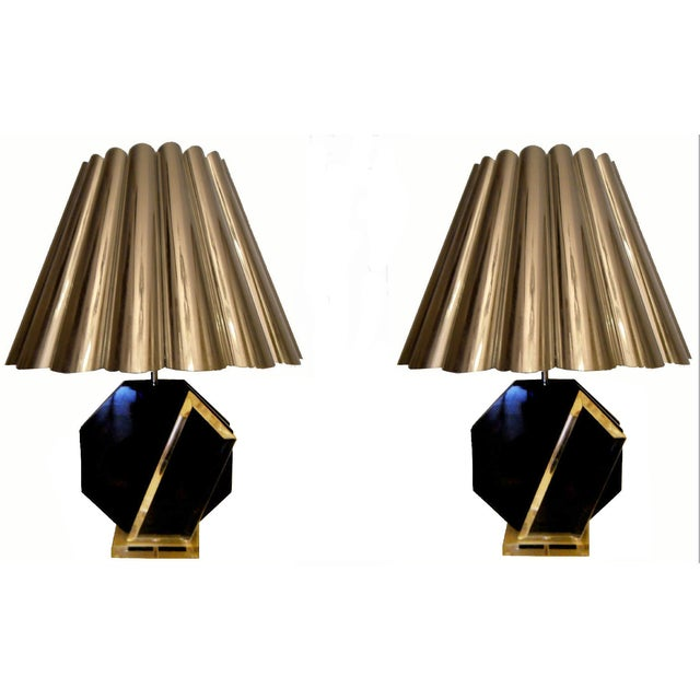 Make a captivating statement with this pair of marked, black-and-lucite table lamps made by Van Teal, circa 1970. Original...