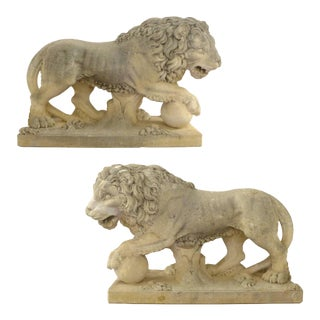 Pair of Italian Life-Sized Carved Limestone Lion Statues For Sale