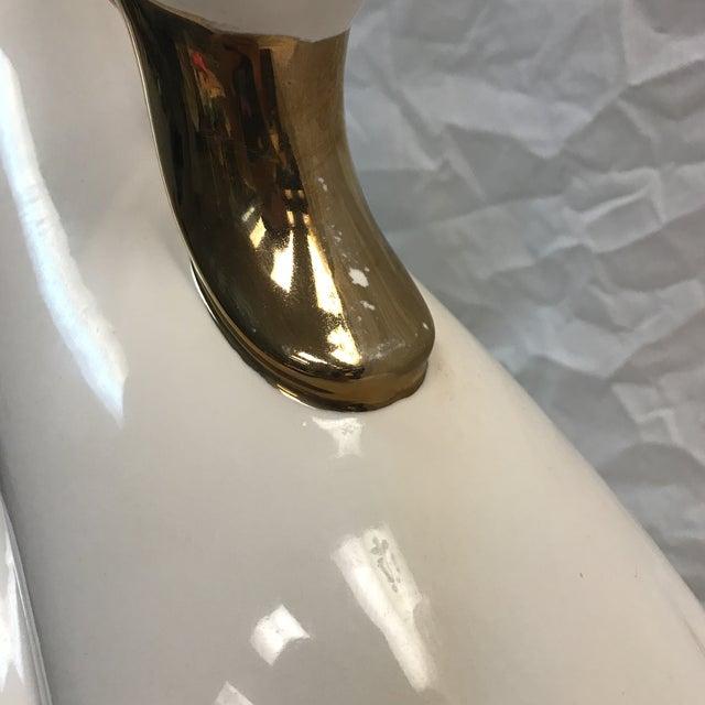 Large Vintage White Porcelain Swan Lamp - Image 5 of 11