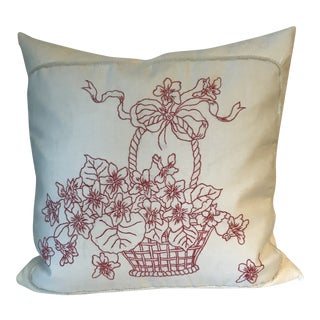 Antique American Victorian Red Stitch Fabric Down Filled Pillow For Sale