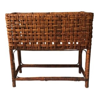 1960s Brown Rattan Planter Box