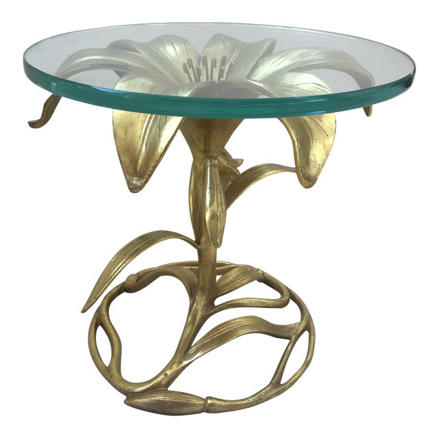 Arthur Court Gilded Lily Table With Glass Top - Image 1 of 10